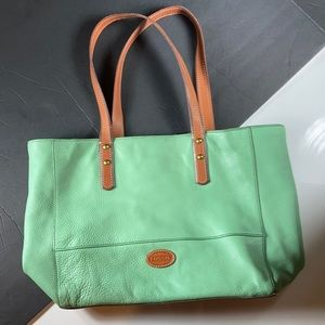 Fossil Leather Tote in Mint Green